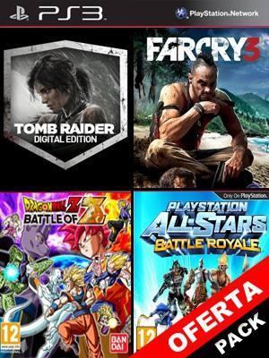 4 juegos en 1 Dragon Ball Z Battle of Z Mas PlayStation All-Stars Battle Royale Mas Far Cry 3 Mas Tomb Raider Digital Edition
