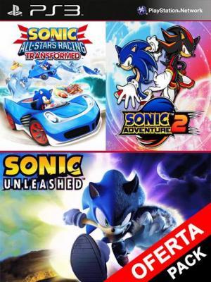 3 juegos en 1 Sonic Unleashed Mas Sonic Adventure 2 Mas Sonic All Stars Racing Transformed