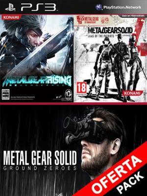 3 juegos en 1 Metal Gear Solid V Ground Zeroes Mas Metal Gear Rising Revengeance Mas Metal Gear Solid 4 Guns of the Patriots PS3