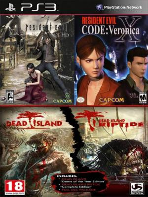 4 juegos en 1 Resident Evil 4 y Resident Evil Code Veronica X Mas  Dead Island Franchise Pack Ps3
