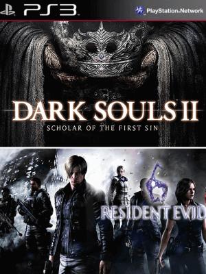 2 JUEGOS EN 1 DARK SOULS II: Scholar of the First Sin + RESIDENT EVIL 6 ps3