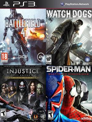 4 JUEGOS EN 1 Battlefield 4 Mas Watch Dogs Mas Injustice Gods Among Us Ultimate Edition Mas Spider-Man Shattered Dimensions PS3