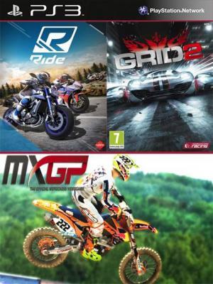 3 juegos en 1 RIDE Mas GRID 2 Mas MXGP The Official Motocross Videogame PS3