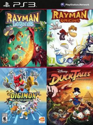 4 juegos en 1 Rayman Legends Mas Rayman Origins Mas DuckTales Remastered Mas Digimon All-Star Rumble PS3