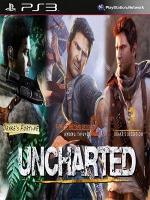 3 JUEGOS EN 1 Uncharted El Tesoro de Drake Mas Uncharted 2 El reino de los ladrones Mas Uncharted 3 La traición de Drake Edición Juego del Año PS3