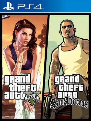 2 juegos en 1 Grand Theft Auto V & Grand Theft Auto  San Andreas Ps4 Primaria