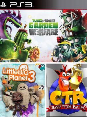 3 juegos en 1 Plants vs Zombies Garden Warfare Mas LittleBigPlanet 3 Mas CTR Crash Team Racing PS3