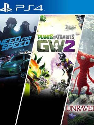 3 JUEGOS EN 1 Need for Speed + Plants vs. Zombies Garden Warfare 2 + Unravel PS4 PRIMARIA