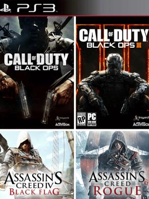 4 juegos en 1 Call of Duty Black Ops III  mas Call of Duty Black Ops  mas Assassins Creed Rogue mas Assassins Creed IV Black Flag