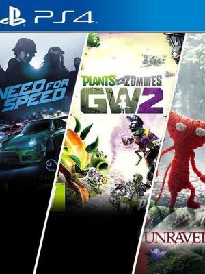 3 JUEGOS EN 1 Need for Speed + Plants vs. Zombies Garden Warfare 2  + Unravel PS4 primaria