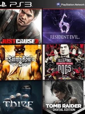 6 juegos en 1 Thief mas Saints Row 2 Ultimate Edition mas Edición digital de Sleeping Dogs mas Just Cause 2 Ultimate Edition mas Edición digital de Tomb Raider mas RESIDENT EVIL 6