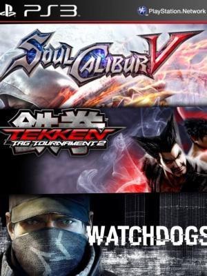 3 juegos en 1 SOULCALIBUR V mas TEKKEN TAG TOURNAMENT 2 mas Watch_Dogs Ps3