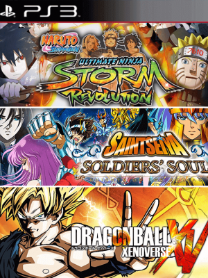 3 JUEGOS EN 1 NARUTO SHIPPUDEN: ULTIMATE NINJA STORM REVOLUTION MAS SAINT SEIYA SOLDIERS SOUL AUDIO LATINO MAS DRAGON BALL XENOVERSE PS3