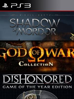 3 juegos en 1 Edición Legión de La Tierra Media: Sombras de Mordor mas God of War Collection mas Dishonored Game of the Year Edition ps3
