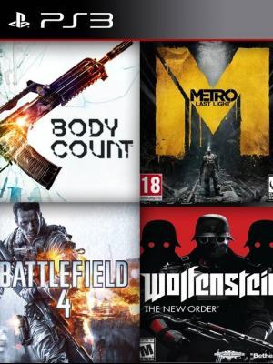 4 juegos en 1 en Español Bodycount mas Metro: Last Light mas Battlefield 4 mas Wolfenstein: The New Order ps3