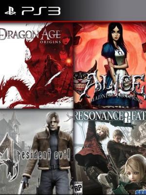 4 juegos en 1 Resonance of Fate mas Resident Evil 4 mas Alice: Madness Returns mas Dragon Age: Origins ps3