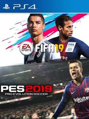 2 juegos en 1 PES 2019 mas FIFA 2019 PS4 PRIMARIA